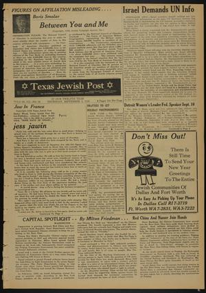 Primary view of object titled 'Texas Jewish Post (Fort Worth, Tex.), Vol. 12, No. 36, Ed. 1 Thursday, September 4, 1958'.