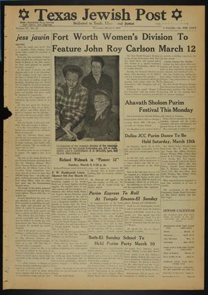 Primary view of object titled 'Texas Jewish Post (Fort Worth, Tex.), Vol. 6, No. 10, Ed. 1 Thursday, March 6, 1952'.