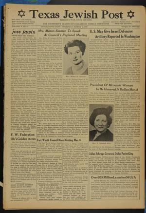 Primary view of object titled 'Texas Jewish Post (Fort Worth, Tex.), Vol. 10, No. 9, Ed. 1 Thursday, March 1, 1956'.