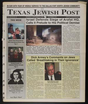 Primary view of object titled 'Texas Jewish Post (Fort Worth, Tex.), Vol. 56, No. 39, Ed. 1 Thursday, September 26, 2002'.