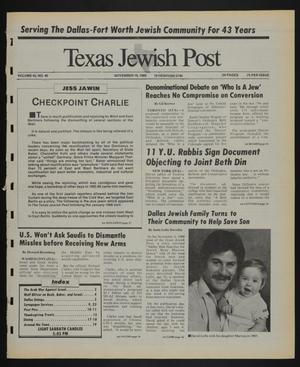 Primary view of object titled 'Texas Jewish Post (Fort Worth, Tex.), Vol. 43, No. 46, Ed. 1 Thursday, November 16, 1989'.