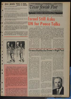 Primary view of object titled 'Texas Jewish Post (Fort Worth, Tex.), Vol. 26, No. 49, Ed. 1 Thursday, December 7, 1972'.