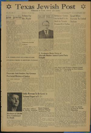 Primary view of object titled 'Texas Jewish Post (Fort Worth, Tex.), Vol. 4, No. 12, Ed. 1 Thursday, June 8, 1950'.
