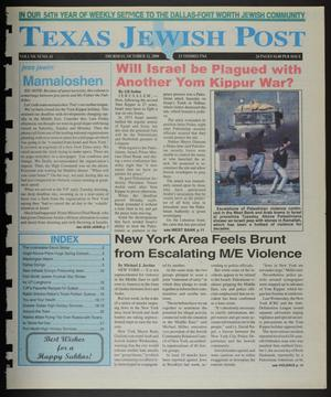 Primary view of object titled 'Texas Jewish Post (Fort Worth, Tex.), Vol. 54, No. 41, Ed. 1 Thursday, October 12, 2000'.