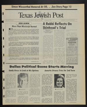 Primary view of object titled 'Texas Jewish Post (Fort Worth, Tex.), Vol. 43, No. 3, Ed. 1 Thursday, January 19, 1989'.