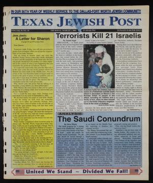 Primary view of object titled 'Texas Jewish Post (Fort Worth, Tex.), Vol. 56, No. 10, Ed. 1 Thursday, March 7, 2002'.