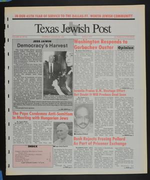 Primary view of object titled 'Texas Jewish Post (Fort Worth, Tex.), Vol. 45, No. 34, Ed. 1 Thursday, August 22, 1991'.