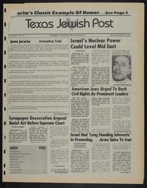 Primary view of object titled 'Texas Jewish Post (Fort Worth, Tex.), Vol. 41, No. 10, Ed. 1 Thursday, March 5, 1987'.
