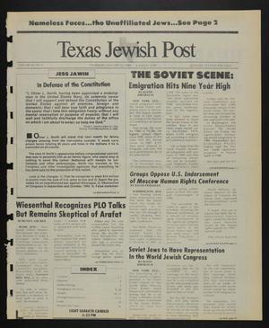 Primary view of object titled 'Texas Jewish Post (Fort Worth, Tex.), Vol. 43, No. 2, Ed. 1 Thursday, January 12, 1989'.