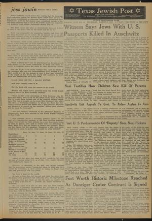 Primary view of object titled 'Texas Jewish Post (Fort Worth, Tex.), Vol. 18, No. 11, Ed. 1 Thursday, March 12, 1964'.
