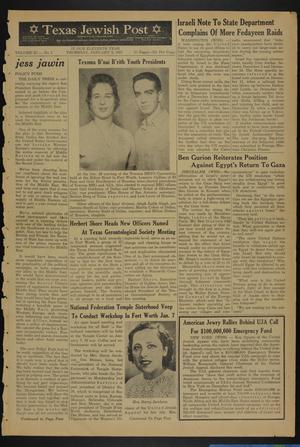 Primary view of object titled 'Texas Jewish Post (Fort Worth, Tex.), Vol. 11, No. 1, Ed. 1 Thursday, January 3, 1957'.