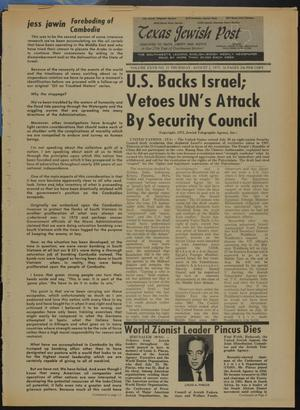 Primary view of object titled 'Texas Jewish Post (Fort Worth, Tex.), Vol. 27, No. 31, Ed. 1 Thursday, August 2, 1973'.