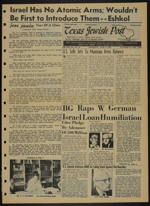 Primary view of object titled 'Texas Jewish Post (Fort Worth, Tex.), Vol. 20, No. 23, Ed. 1 Thursday, June 9, 1966'.