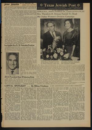 Primary view of object titled 'Texas Jewish Post (Fort Worth, Tex.), Vol. 14, No. 47, Ed. 1 Thursday, November 24, 1960'.