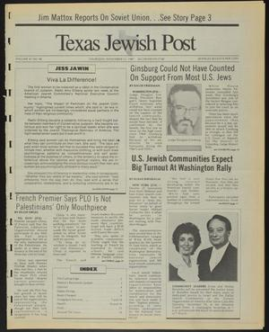 Primary view of object titled 'Texas Jewish Post (Fort Worth, Tex.), Vol. 41, No. 46, Ed. 1 Thursday, November 12, 1987'.