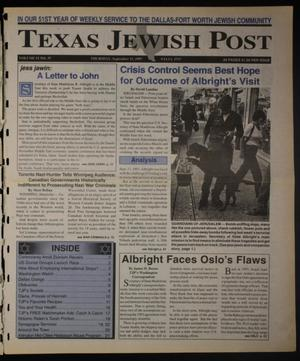 Primary view of object titled 'Texas Jewish Post (Fort Worth, Tex.), Vol. 51, No. 37, Ed. 1 Thursday, September 11, 1997'.