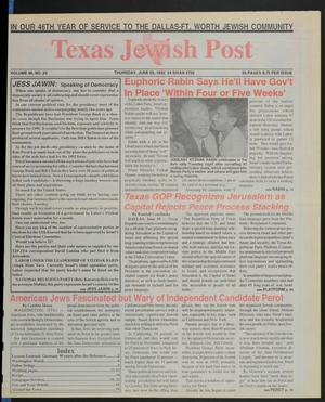 Primary view of object titled 'Texas Jewish Post (Fort Worth, Tex.), Vol. 46, No. 26, Ed. 1 Thursday, June 25, 1992'.