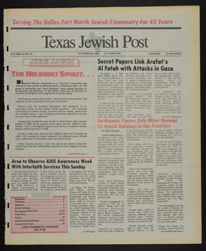 Primary view of object titled 'Texas Jewish Post (Fort Worth, Tex.), Vol. 43, No. 43, Ed. 1 Thursday, October 26, 1989'.