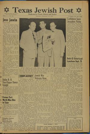 Primary view of object titled 'Texas Jewish Post (Fort Worth, Tex.), Vol. 4, No. 20, Ed. 1 Thursday, September 28, 1950'.