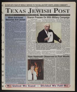 Primary view of object titled 'Texas Jewish Post (Fort Worth, Tex.), Vol. 56, No. 15, Ed. 1 Thursday, April 11, 2002'.