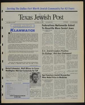 Primary view of object titled 'Texas Jewish Post (Fort Worth, Tex.), Vol. 43, No. 42, Ed. 1 Thursday, October 19, 1989'.