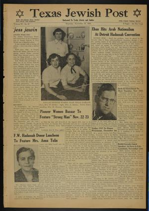 Primary view of object titled 'Texas Jewish Post (Fort Worth, Tex.), Vol. 6, No. 47, Ed. 1 Thursday, November 20, 1952'.
