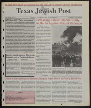 Primary view of object titled 'Texas Jewish Post (Fort Worth, Tex.), Vol. 46, No. 46, Ed. 1 Thursday, November 12, 1992'.