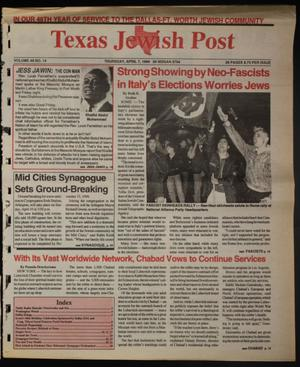 Primary view of object titled 'Texas Jewish Post (Fort Worth, Tex.), Vol. 48, No. 14, Ed. 1 Thursday, April 7, 1994'.