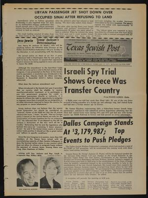 Primary view of object titled 'Texas Jewish Post (Fort Worth, Tex.), Vol. 27, No. 8, Ed. 1 Thursday, February 22, 1973'.