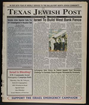 Primary view of object titled 'Texas Jewish Post (Fort Worth, Tex.), Vol. 56, No. 21, Ed. 1 Thursday, May 23, 2002'.