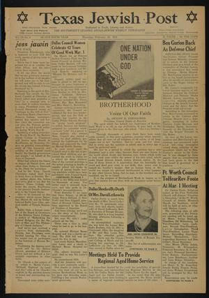 Primary view of object titled 'Texas Jewish Post (Fort Worth, Tex.), Vol. 9, No. 8, Ed. 1 Thursday, February 24, 1955'.