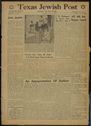 Primary view of object titled 'Texas Jewish Post (Fort Worth, Tex.), Vol. 6, No. 40, Ed. 1 Thursday, October 2, 1952'.