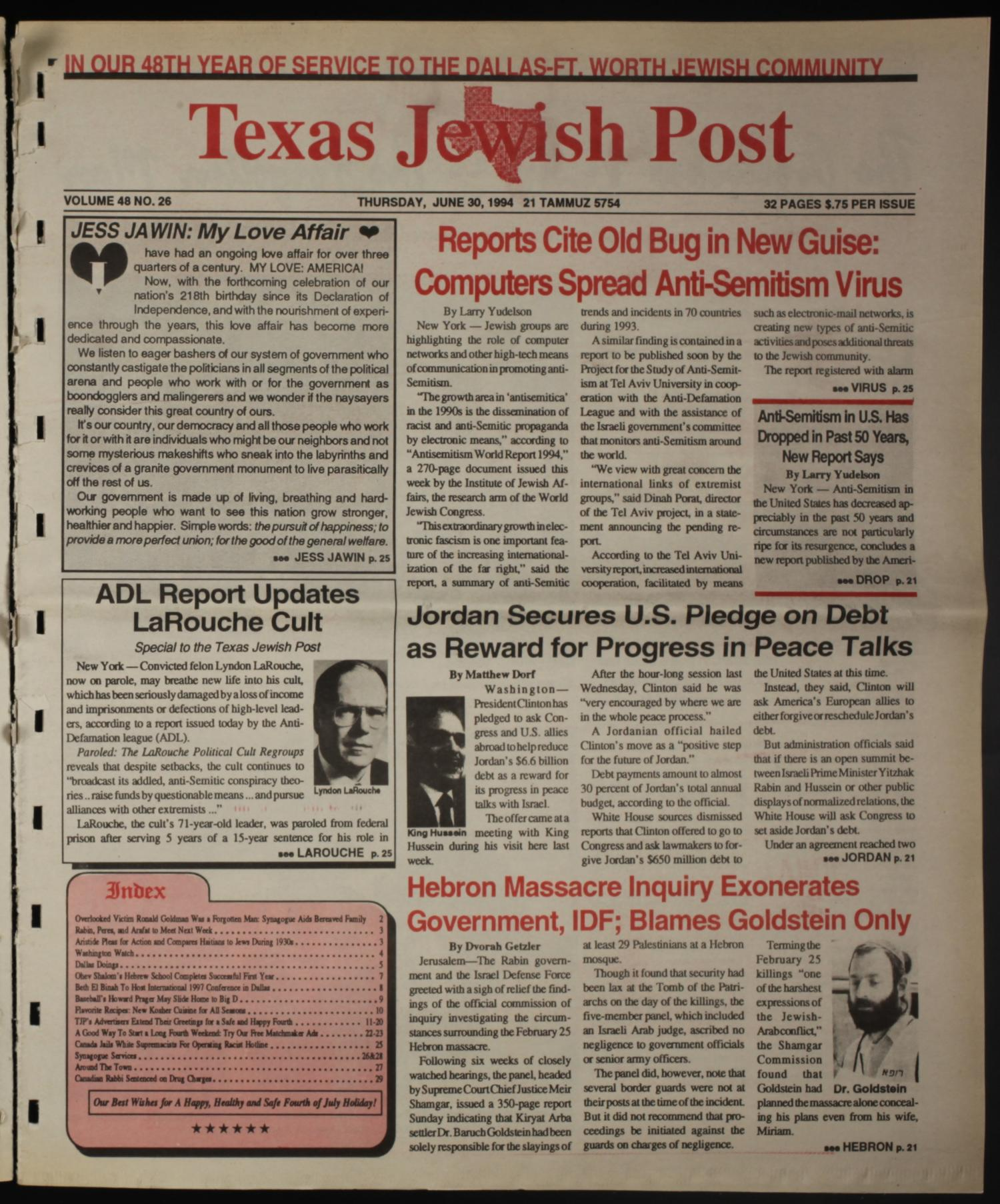 Texas Jewish Post (Fort Worth, Tex.), Vol. 48, No. 26, Ed. 1 Thursday, June 30, 1994                                                                                                      [Sequence #]: 1 of 32