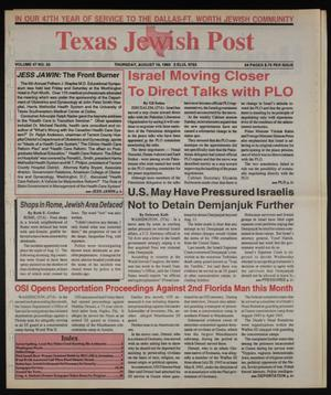 Primary view of object titled 'Texas Jewish Post (Fort Worth, Tex.), Vol. 47, No. 33, Ed. 1 Thursday, August 19, 1993'.