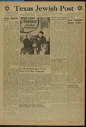 Primary view of object titled 'Texas Jewish Post (Fort Worth, Tex.), Vol. 8, No. 15, Ed. 1 Thursday, April 15, 1954'.