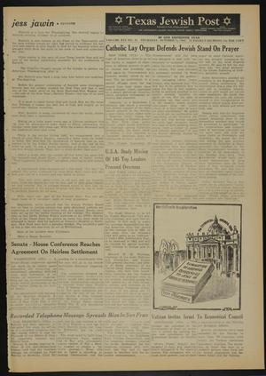 Primary view of object titled 'Texas Jewish Post (Fort Worth, Tex.), Vol. 16, No. 41, Ed. 1 Thursday, October 11, 1962'.