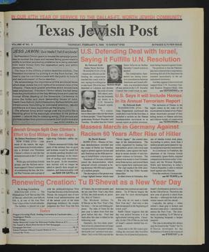 Primary view of object titled 'Texas Jewish Post (Fort Worth, Tex.), Vol. 47, No. 5, Ed. 1 Thursday, February 4, 1993'.