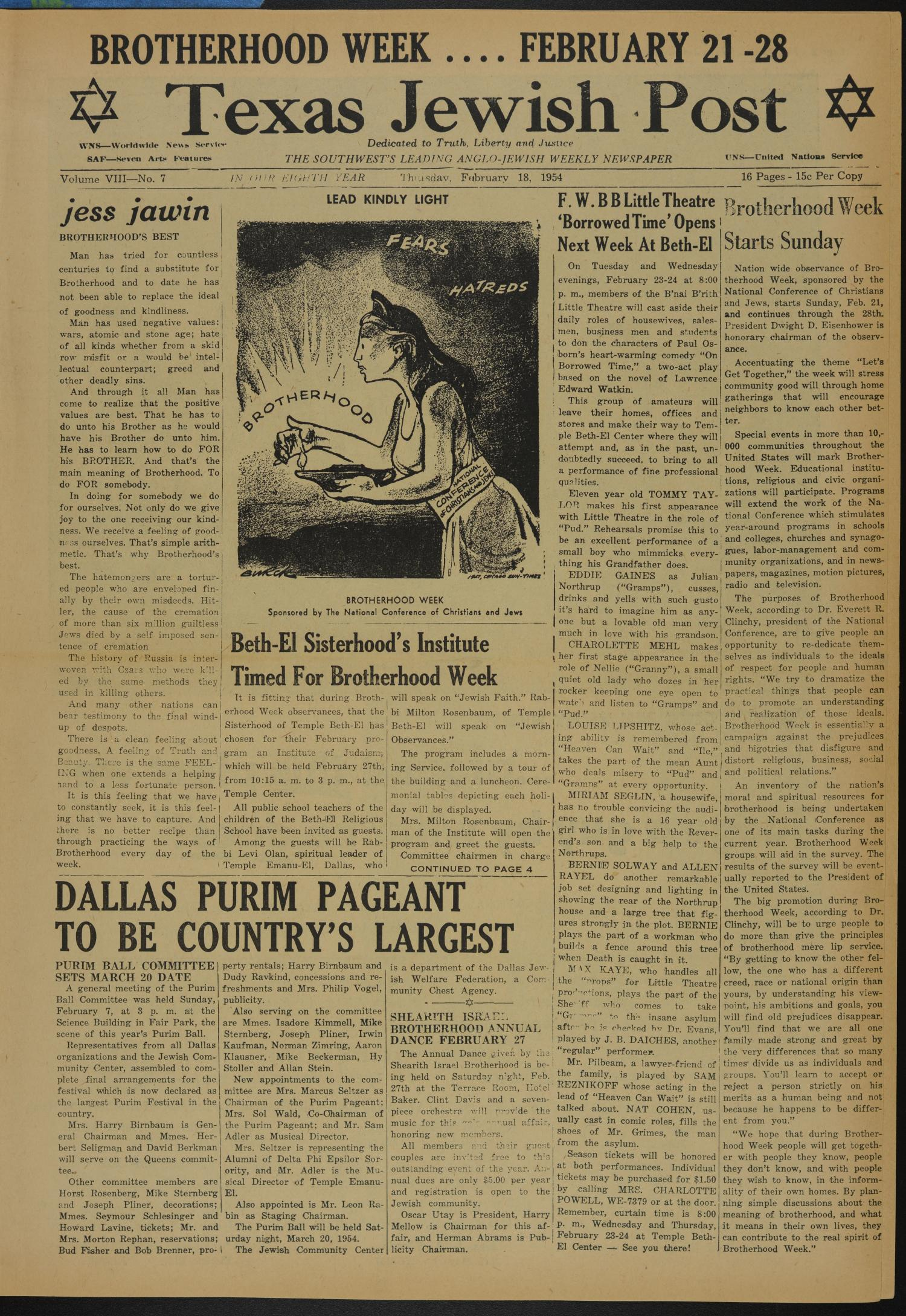 Texas Jewish Post (Fort Worth, Tex.), Vol. 8, No. 7, Ed. 1 Thursday, February 18, 1954                                                                                                      [Sequence #]: 1 of 16