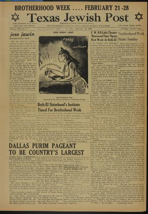 Primary view of object titled 'Texas Jewish Post (Fort Worth, Tex.), Vol. 8, No. 7, Ed. 1 Thursday, February 18, 1954'.
