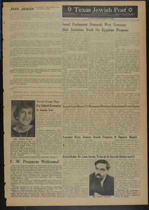 Primary view of object titled 'Texas Jewish Post (Fort Worth, Tex.), Vol. 17, No. 13, Ed. 1 Thursday, March 28, 1963'.
