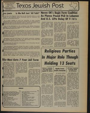 Primary view of object titled 'Texas Jewish Post (Fort Worth, Tex.), Vol. 35, No. 29, Ed. 1 Thursday, July 16, 1981'.