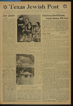 Primary view of object titled 'Texas Jewish Post (Fort Worth, Tex.), Vol. 8, No. 28, Ed. 1 Thursday, July 15, 1954'.