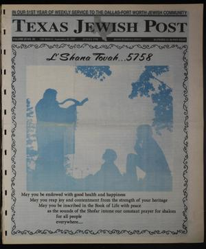 Primary view of object titled 'Texas Jewish Post (Fort Worth, Tex.), Vol. 51, No. 39, Ed. 1 Thursday, September 25, 1997'.