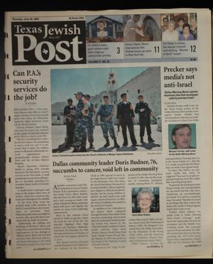 Primary view of object titled 'Texas Jewish Post (Fort Worth, Tex.), Vol. 57, No. 26, Ed. 1 Thursday, June 26, 2003'.
