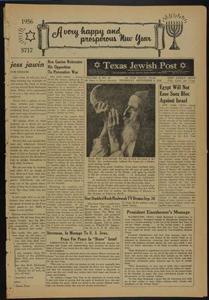 Primary view of object titled 'Texas Jewish Post (Fort Worth, Tex.), Vol. 10, No. 36, Ed. 1 Thursday, September 6, 1956'.