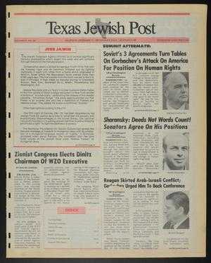 Primary view of object titled 'Texas Jewish Post (Fort Worth, Tex.), Vol. 41, No. 50, Ed. 1 Thursday, December 17, 1987'.