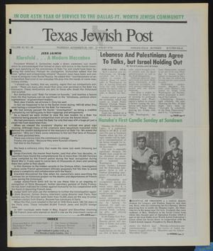 Primary view of object titled 'Texas Jewish Post (Fort Worth, Tex.), Vol. 45, No. 48, Ed. 1 Thursday, November 28, 1991'.