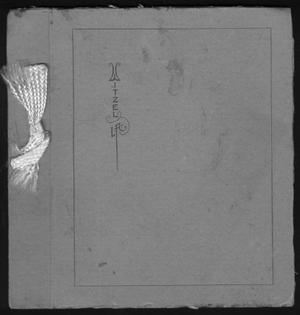 Primary view of object titled '[Gray cardboard folder with white ribbon on binding]'.