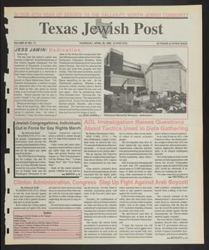 Primary view of object titled 'Texas Jewish Post (Fort Worth, Tex.), Vol. 47, No. 17, Ed. 1 Thursday, April 29, 1993'.
