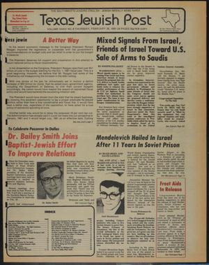 Primary view of object titled 'Texas Jewish Post (Fort Worth, Tex.), Vol. 35, No. 9, Ed. 1 Thursday, February 26, 1981'.